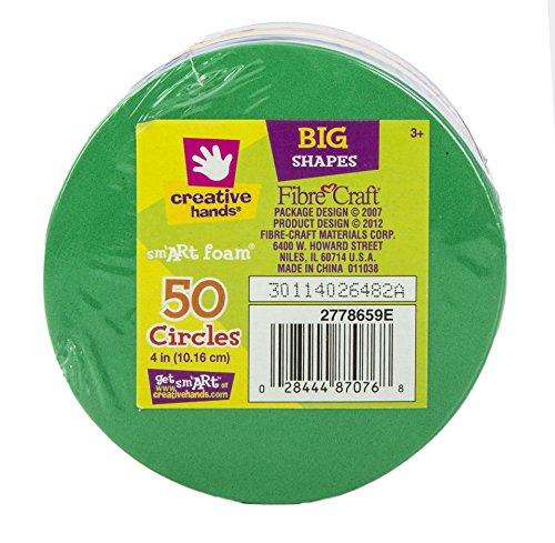 Creative Hands by Fibre-Craft – 50 Piece, 4 Inch Diameter Multicolored Circle Foam Sheet Stack (Craft Foam Circles)