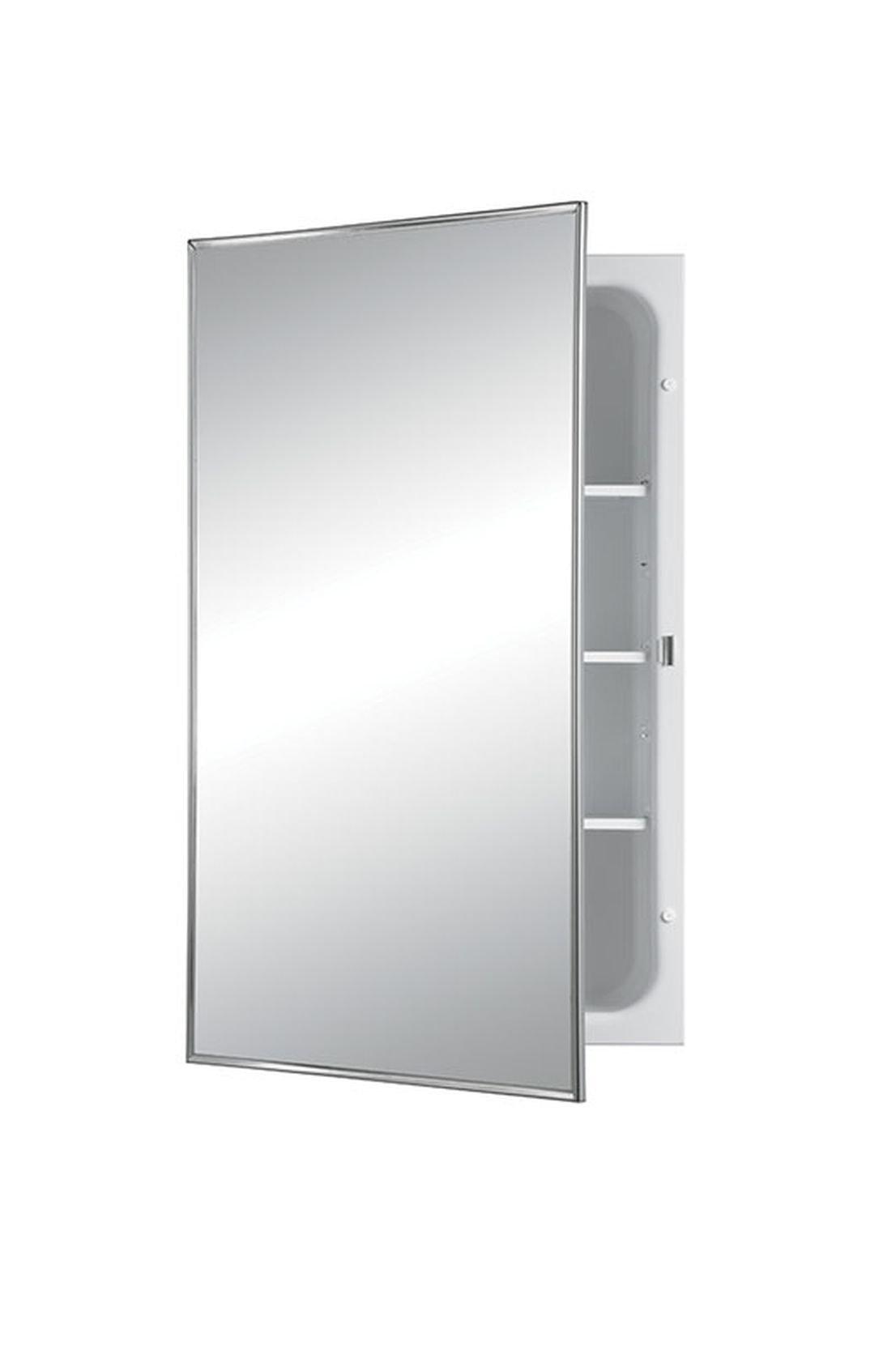 Jensen 468BCX Stainless Steel Frame Medicine Cabinet, 16'' x 26''