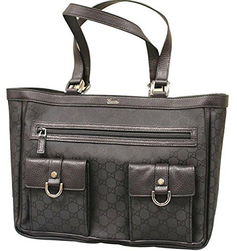 Gucci Abbey Tote Handbag Purse Black Nylon Bag 268639 1001