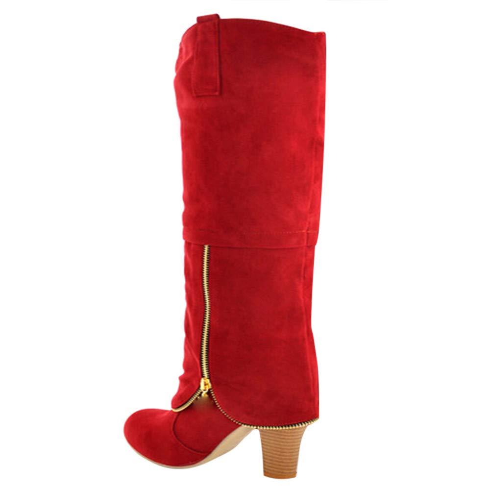 Zapatillas, BaZhaHei, Botas Altas con Matorral de tacón Alto de Zapatos de Cabeza Redonda para Mujer Cremallera Antideslizante hasta la Rodilla Botas de ...