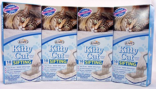 (Kitty Cat Sifting Litter Box Liners- 10 Per Box Plus 1 Transfer Liner Per Box- 40 in X 38 in (4 Pack/boxes))