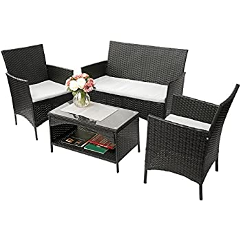 Amazon Com Merax 4 Pc Rattan Patio Furniture Set Outdoor