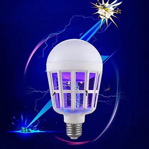 Amyove 2 in 1 Bug Zapper LED Bulb,E27 15W Mosquito Killer Lamp,Pest Control Light Bulbs for Lures,Zaps&Kills Insects Beautiful Props for Home Decoration Daily Using
