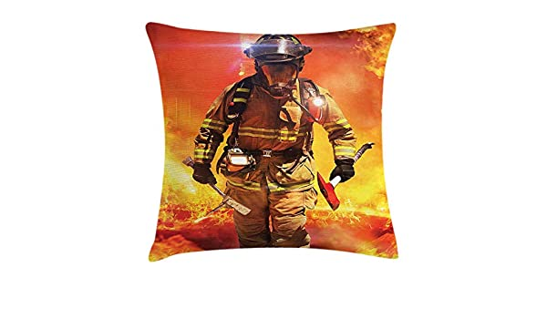 FPDecor Fireman Funda de Almohada, Firefighter Figure in a ...
