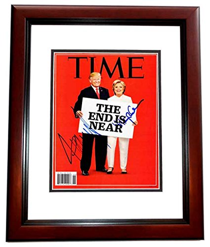 Donald Trump and Hillary Clinton Signed - Autographed 2016 TIME Magazine Cover - MAHOGANY CUSTOM FRAME - Guaranteed to pass PSA or JSA