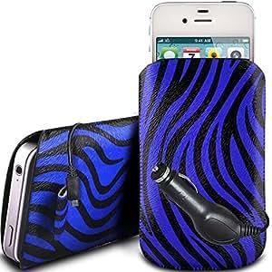 Direct-2-Your-Door - HTC Wildfire Protección PU cuero Zebra Diseño deslizamiento cordón tirador de la cremallera en la caja de la bolsa con cierre rápido y CE Cargador de coche - Azul
