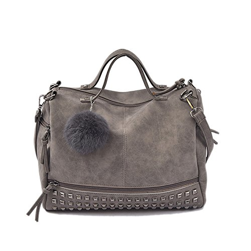 Suede Satchel Purse - Women Handbags Hobo Shoulder Bags PU Leather Large Tote Purse for Ladies, Grey