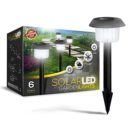 SolarGlow Solar Garden Lights - Super-Bright 15 Lumens - Perfect Neutral Design; Makes Garden Pathways & Flower Beds Look Great - Easy NO-WIRE Installation; ()