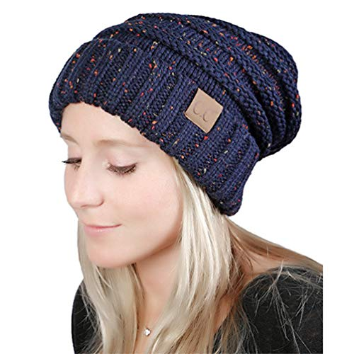 MissPretty Beanie for Women Headwear Knitted Hats for Women and Men Thick Soft Warm Chunky Hats (Navy)
