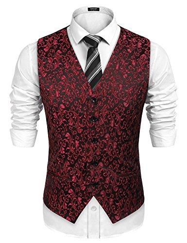 COOFANDY Men's Suit Dress Vest Paisley Floral Tuxedo Vest Slim fit Wedding Waistcoat,Red,Small