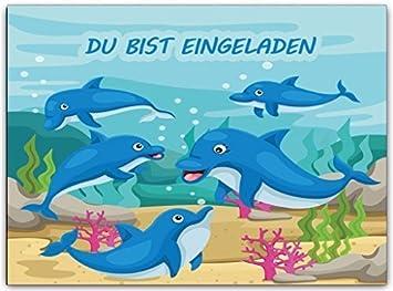 Delfine Delphine Kindergeburtstag Einladungskarten Einladung  Geburtstagseinladung (8 Stück) Schwimmbad Schwimmen