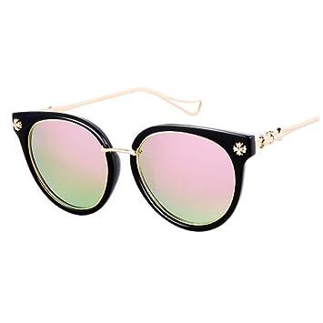 Amazon.com: TYUR Gafas de sol para mujer, montura redonda ...