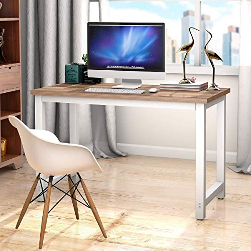 Tangkula Computer Desk Wooden Top Study Construction Portable Modern Design Laptop PC Table Rectangular Writing Table Study Home Office Workstation Furniture (Natural)