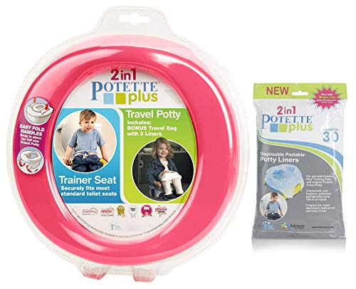 (Kalencom 2 in 1 Potette Plus Portable Potty Training + Travel Toilet Seat with 30 Potty Liners Bundle, Pink)