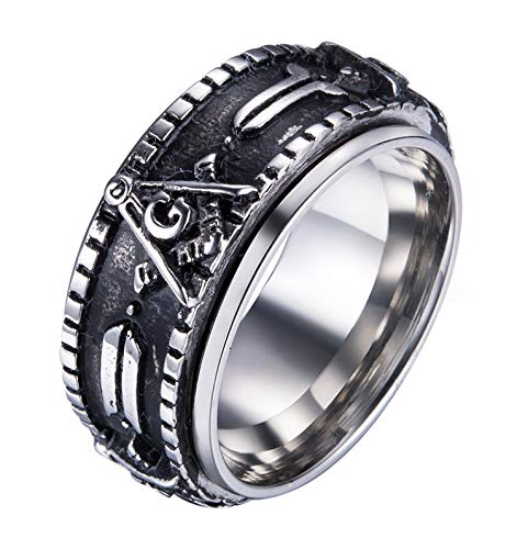 (Rinspyre Men's Stainless Steel Vintage Spinner Freemason Masonic Ring Silver Plated Size 8)
