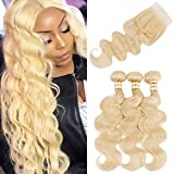 Goldfinch Platinum Blonde Body Wave Human Hair 3 Bundles with Closure Brazilian Virgin