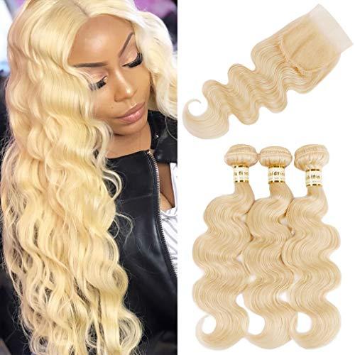 Goldfinch #613 Blonde Body Wave Bundles with Closure Platinum Blonde Human Hair 3 Bundles with Closure Brazilian Virgin Hair 18 20 22 + 16