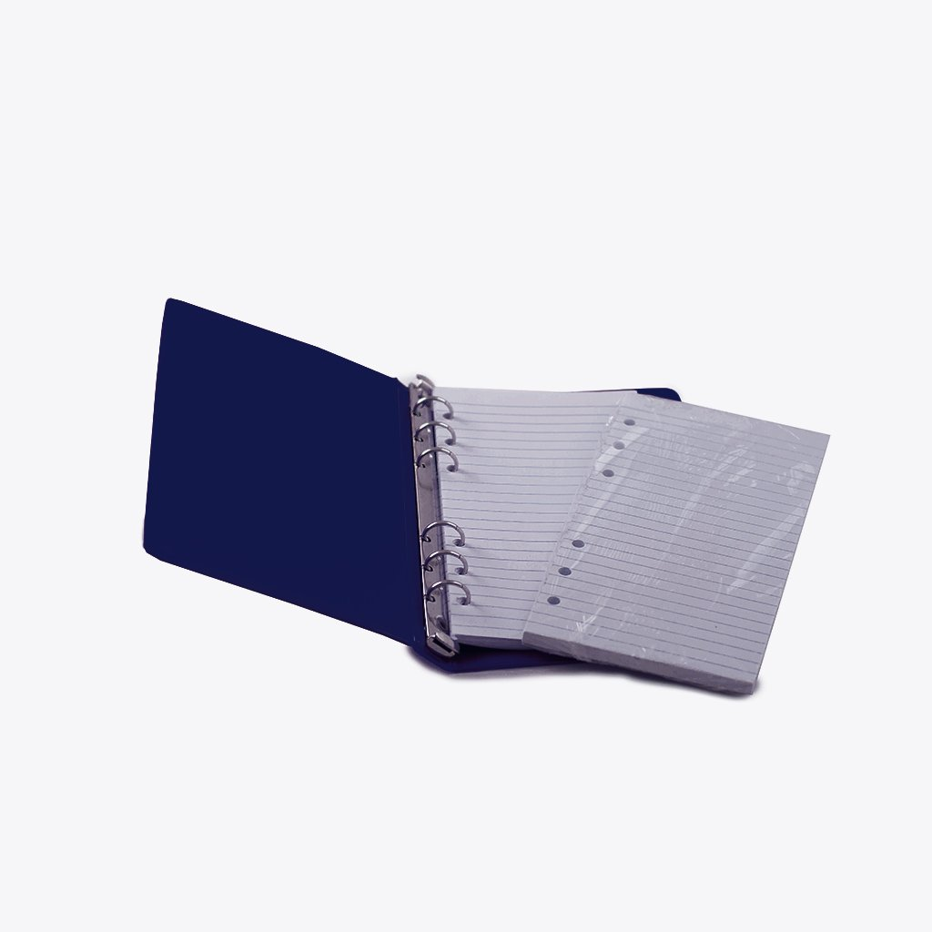 HNR BLUE Loose-Leaf Memo Book, 6 3/4 x 3 3/4'', 6-Ring Binder, 80 Pages + Free Refill 80 Pages