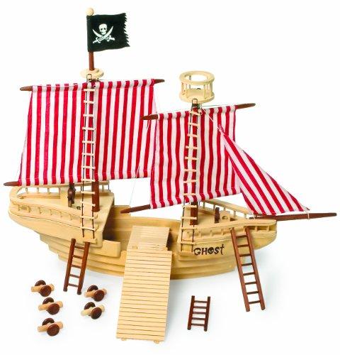 Piratenschiff aus Holz, mit Piraten-Crew sowie  mit allerlei Zubehör, hochwertiges Design und sehr aufwendig verarbeitet, ganz großer Spielspaß für junge Piraten ab 3 Jahre