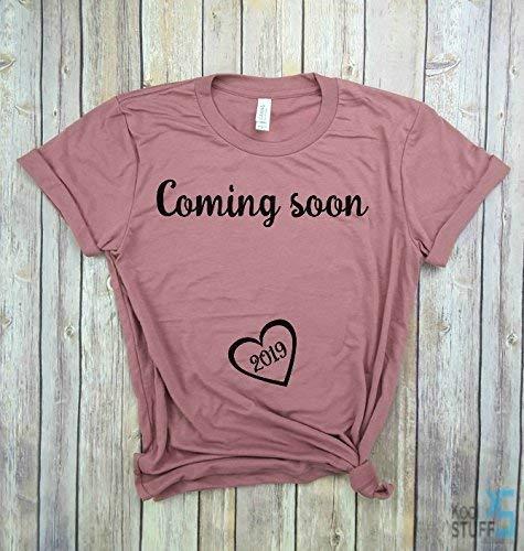 517b1bce3 Amazon.com: Coming Soon 2019   Pregnancy Shirt, Mom to Be, Pregnancy Reveal,  New Mom Shirt, Pregnancy Announcement Shirt, Est 2019.: Handmade