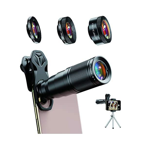 A-Apexel-Phone-Lens-Kit-6-in-1-22X-Telephoto-Lens-205--Fisheye-Lens-120--Wide-Angle-Lens-and-25X-Macro-Lens-Screwed-Together-Compatible-with-iPhone-11-8-7-6-6S-Plus-X-XsMax-XR-Samsung