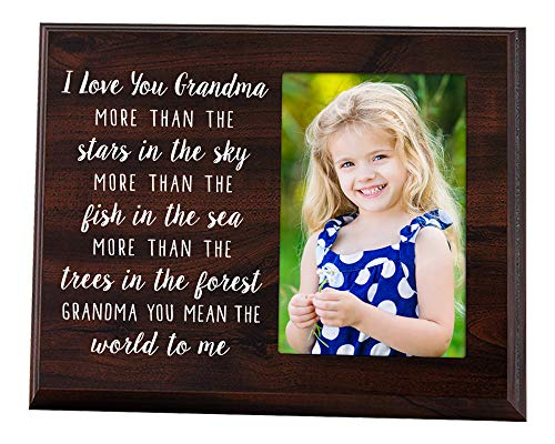 Elegant Signs Grandma Picture Frame - I Love You 4x6 Photo Holder Plaque with Grandmother Quote - Grandma Gift