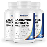 Nutricost L-Carnitine Tartrate 500mg, 240 Capsules - 1000mg per Serving (3 Bottles)