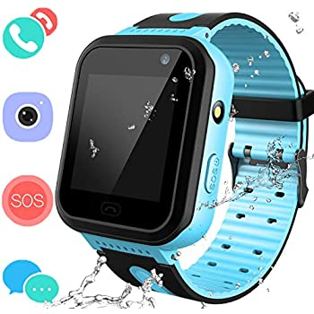 Smart Watches Phone for Boys Girls - Kids Water-Resistant Wrist Watch with Call SOS Voice Chat Camera Flashlight Alarm Sports Bands Gifts for Children Age ...