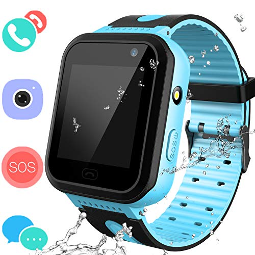 Jesam Smart Watches Phone for Boys Girls - Kids Water-Resistant Wrist Watch with Call SOS Voice Chat Camera Flashlight Alarm Sports Bands Gifts for Children Age 4-12 (02 S7 Blue)