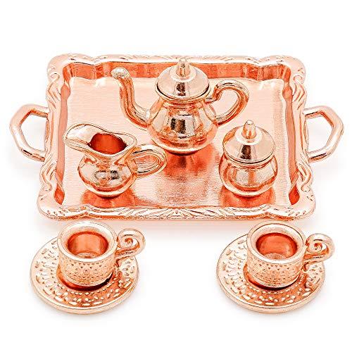 Odoria 1:12 Miniature 8PCS Vintage Copper Tea Cup Coffee Serving Set Dollhouse Kitchen Accessories ()