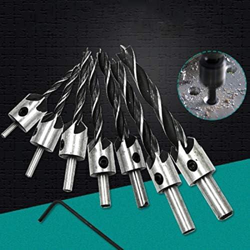 7PCS /セット 木工 カウンターシンク 面取り 三尖った 高速スチールドリルビットセット 3〜10mm ハンドツール
