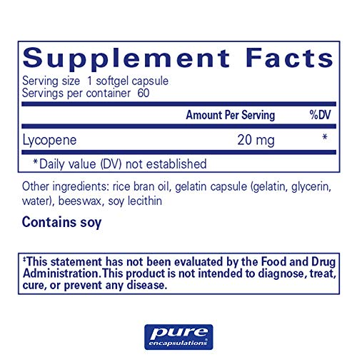 Pure Encapsulations - Lycopene 20 mg - Dietary Supplement for Prostate, Cellular and Macular Support* - 60 Softgel Capsules by Pure Encapsulations (Image #1)