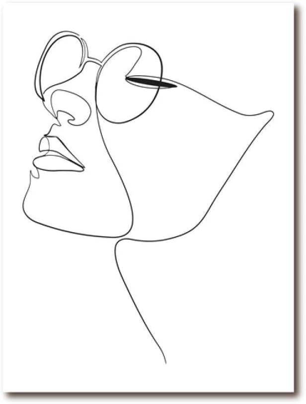 CNHNWJ Mujer Cara Figura una línea Dibujo Arte Lienzo Pintura Cuadro Abstracto Arte Cara impresión Minimalista Bosquejo Cartel decoración del hogar (40x60cmx1 / sin Marco)