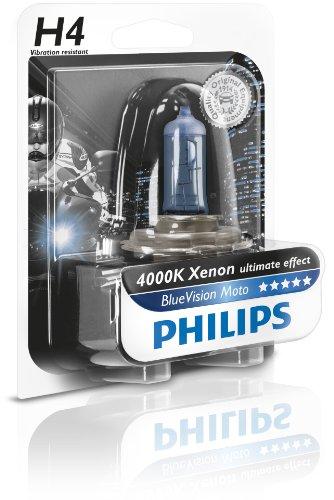 Philips 12342BVUBW Blue Vision Moto H4 Motorrad-Scheinwerferlampe, 1er Blister