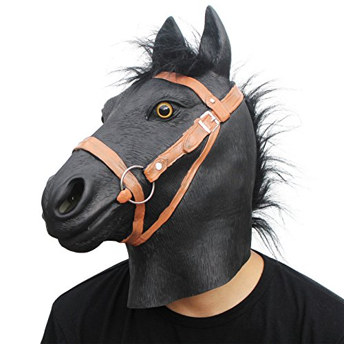 PartyCostume Latex War Horse Mask Battle Steed