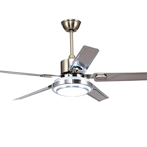 5 Blade Stainless Steel Remote Control Ceiling Fan 3 Lights Dimming Reversible Rotating LED Fan Ceiling Light Indoor Mute Energy-Ssaving Fan Chandelier 52inch