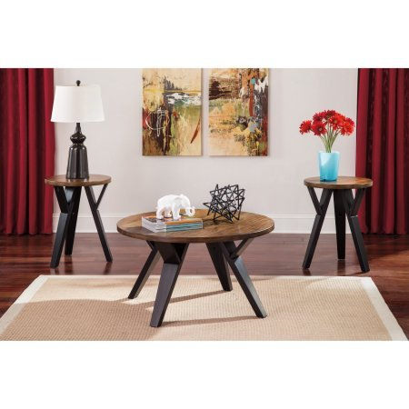 Two Tone Wood Round Coffee Side Table Set, 1 Coffee Cocktail And 2 Side End