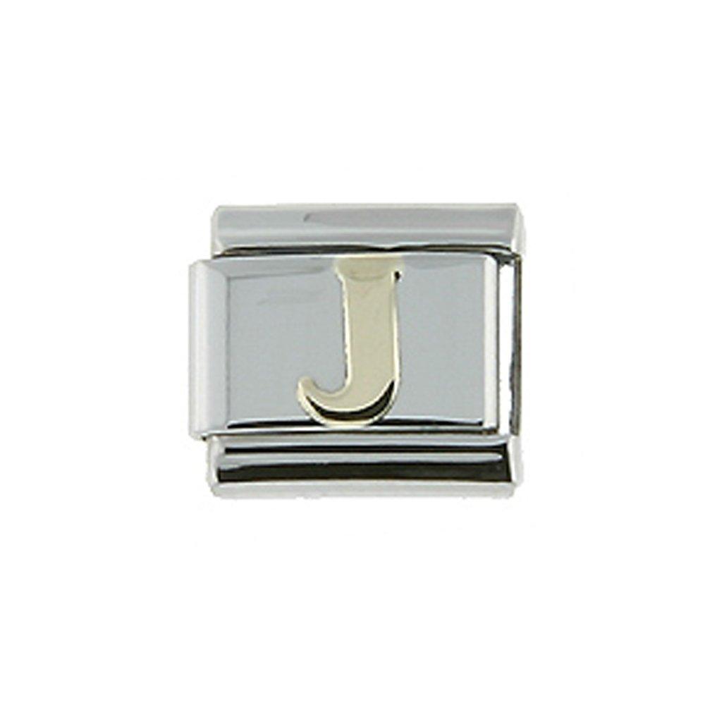 Stainless Steel 18k Gold Italian Charm Initial Letter J for Italian Charm Bracelets