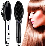 BROADCARE Hair Straightener Brush LCD Anion Electric Straightening Comb with Hair Massager Tool(Black)