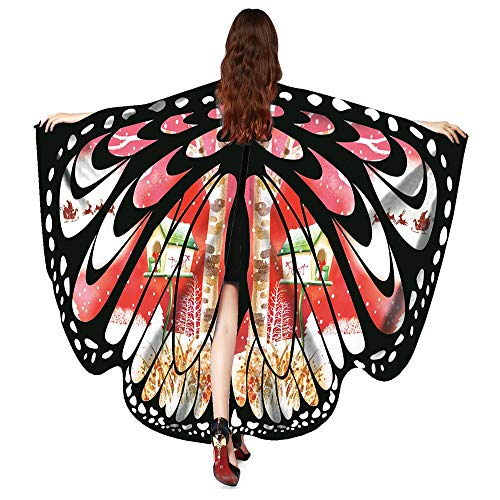 ASfairy Butterfly Wings Shawl Scarves, Women Cape Scarf Fairy Poncho Wrap Pixie Poncho Halloween Costume Accessory (Hot Pink A) -