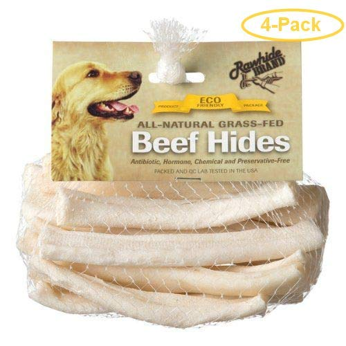 Rawhide Brand Eco Friendly Beef Hide Natural Flat Spiral Rolls 5'' Rolls (12 Pack) - Pack of 4 by Rawhide Brand