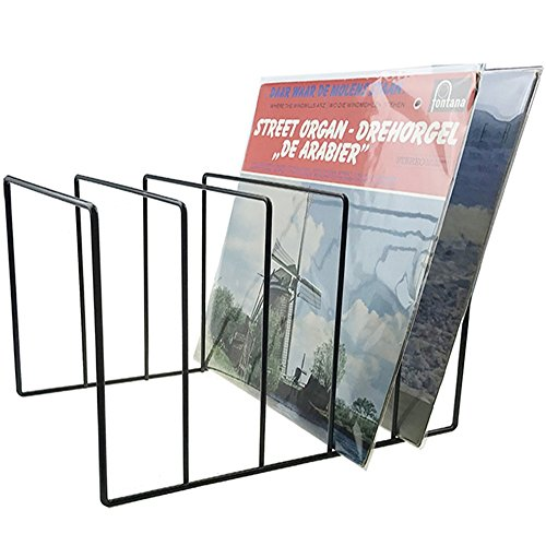 Record-Happy Vinyl Record Storage Holder Stand - Vinyl Coated Metal Wire Rack Holds up to 50 Album Lp's - Premium Display, Simple and Contemporary Concept Design for 12