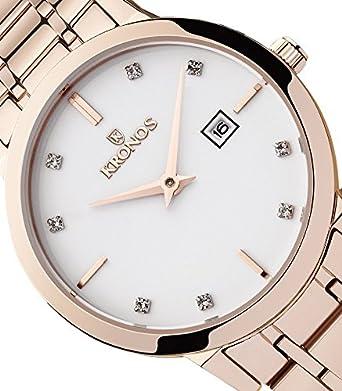 Kronos - Elegance Ladies Rose 974.7.34 -Reloj de señora de cuarzo, brazalete de acero, color esfera: blanca: Amazon.es: Relojes