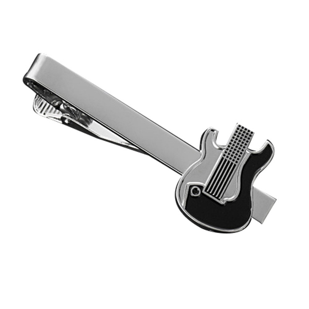 MGStyle Tie Bar Pinch Cilp For Men - 2.16 Inch For Regular Ties - Guitar - Silver Tone - Stainless Steel with Deluxe Gift Box