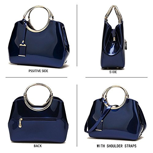 Handbags Leather Stylish Purse Black Bags Bags Handle Black Patent Top Womens Shoulder Ladies Tote wHR510nqx