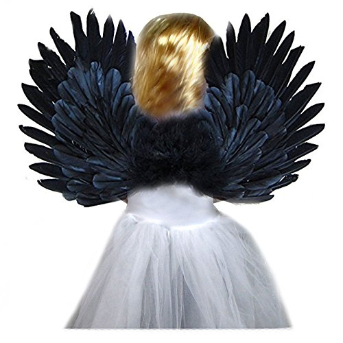 SACAS Small Black Feather Angel Wings for kids, girls, or boys with Free Halo]()
