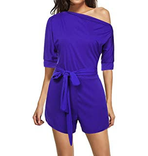 0993e0f6dea0 Mioloe Fashion Women Solid Color One Shoulder Club Cocktail Jumpsuit with  Pocket