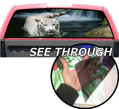 (P65 White Tiger Tint Rear Window Decal Wrap Graphic Perforated See Through Universal Size 65