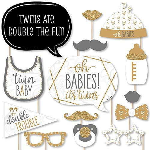 Big Dot of Happiness It's Twins - Gold Twins Baby Shower Photo Booth Props Kit - 20 ()