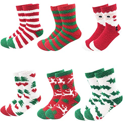 October Elf 6 Pairs Adult Christmas Holiday Socks Warm Winter Cozy Socks (One size, B)